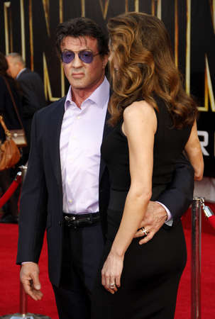 sylvester: Jennifer Flavin and Sylvester Stallone at the Los Angeles premiere of Iron Man 2 held at the El Capitan Theater in Hollywood on April 26, 2010. Editorial