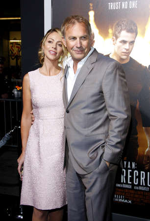 christine: Christine Baumgartner and Kevin Costner at the Los Angeles premiere of Jack Ryan: Shadow Recruit held at the TCL Chinese Theater in Hollywood, USA on January 15, 2014.