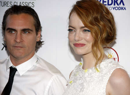 joaquin: Emma Stone and Joaquin Phoenix at the Los Angeles premiere of Irrational Man held at the WGA Theater in Beverly Hills, USA on July 9, 2015. Editorial