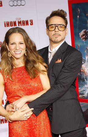 Robert Downey Jr. and Susan Downey at the Los Angeles premiere of Iron Man 3 held at the El Capitan Theater in Los Angeles, USA on April 20, 2013.