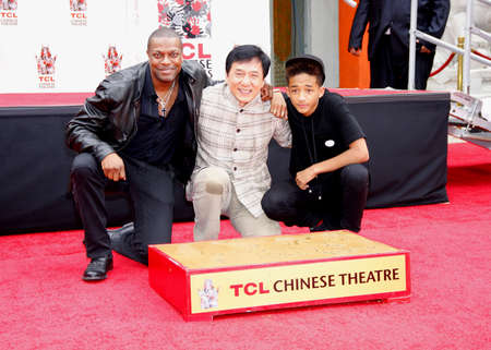 tucker: Chris Tucker, Jackie Chan and Jaden Smith at the Jackie Chan Hand and Foot Print Ceremony held at the TCL Chinese Theatre in Hollywood, USA on June 6, 2013.