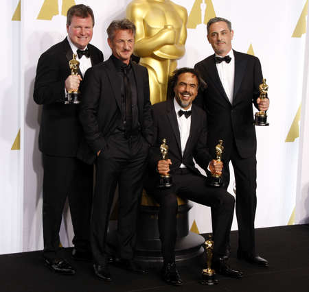 sean: John Lesher, Sean Penn, Alejandro G. Inarritu and James W. Skotchdopole at the 87th Annual Academy Awards - Press Room held at the Loews Hollywood Hotel in Hollywood, USA on February 22, 2015.