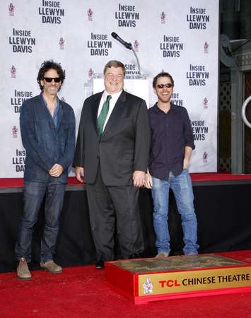 ethan: John Goodman, Ethan and Joel Coen at the John Goodman Handprint and Footprint Ceremony held at the TCL Chinese Theatre in Hollywood, USA on November 14, 2013. Editorial