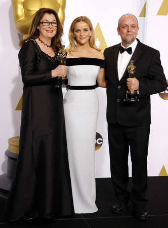reese: Frances Hannon, Mark Coulier and Reese Witherspoon at the 87th Annual Academy Awards - Press Room held at the Loews Hollywood Hotel in Hollywood, USA on February 22, 2015.