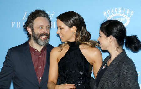 sheen: Kate Beckinsale, Sarah Silverman and Michael Sheen at the Los Angeles premiere of Love And Friendship held at the DGA Theater in Hollywood, USA on May 3, 2016.