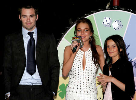 Chris Pine, Lindsay Lohan and Ali Lohan at the Los Angeles Premiere of Just My Luck held at the National Theatre in Westwood, USA on May 9, 2006. Editorial
