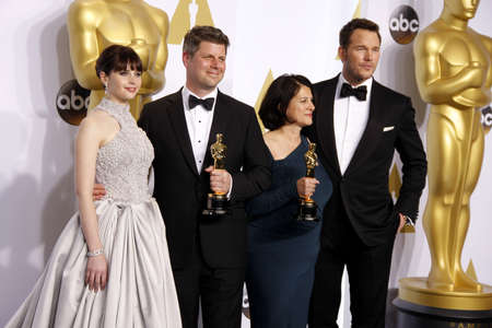 felicity: Felicity Jones, Adam Stockhausen, Anna Pinnock and Chris Pratt at the 87th Annual Academy Awards - Press Room held at the Loews Hollywood Hotel in Hollywood, USA on February 22, 2015.