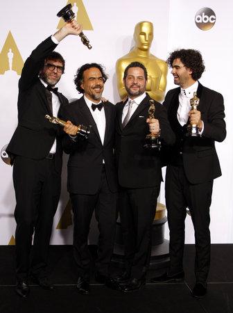Alejandro G. Inarritu, Alexander Dinelaris, Nicolas Giacobone and Armando Bo at the 87th Annual Academy Awards - Press Room held at the Loews Hollywood Hotel in Hollywood, USA on February 22, 2015. Editöryel