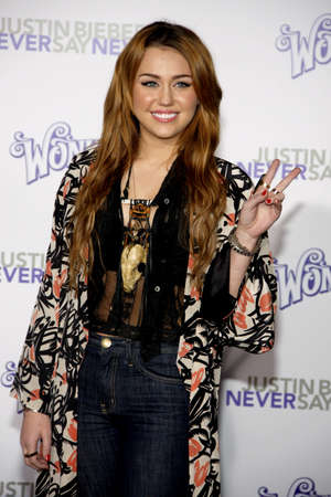 cyrus: Miley Cyrus at the Los Angeles premiere of Justin Bieber: Never Say Never held at the Nokia Theatre L.A. Live in Los Angeles, USA on February 8, 2011. Editorial