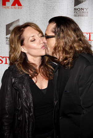 justified: Kurt Sutter and Katey Sagal at the premiere screening of FXs Justified held at the DGA Theater in Hollywood, USA on March 8, 2010.