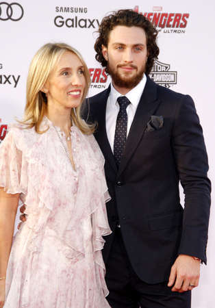 dolby: Sam Taylor-Johnson and Aaron Taylor-Johnson at the World premiere of Marvels Avengers: Age Of Ultron held at the Dolby Theater in Hollywood, USA on April 13, 2015.