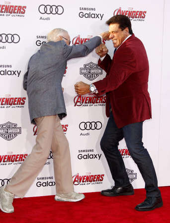 dolby: Stan Lee and Lou Ferrigno at the World premiere of Marvels Avengers: Age Of Ultron held at the Dolby Theater in Hollywood, USA on April 13, 2015.