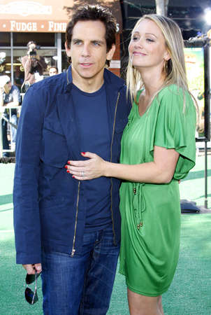 WESTWOOD, CA - OCTOBER 26, 2008: Christine Taylor  and Ben Stiller at the Los Angeles premiere of 'Madagascar: Escape 2 Africa' held at the Mann Village Theater in Westwood, USA on October 26, 2008.