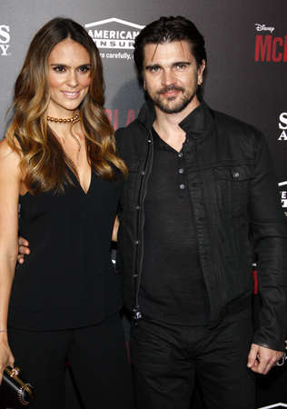 Juanes and Karen Martinez at the Los Angeles premiere of McFarland, USA held at the El Capitan Theater in Hollywood on February 9, 2015.
