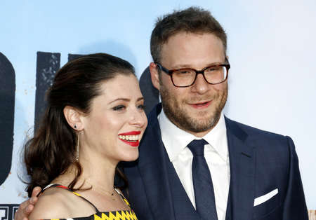 Seth Rogen and Lauren Miller at the Los Angeles premiere of 'Neighbors 2: Sorority Rising' held at the Regency Village Theatre in Westwood, USA on May 16, 2016.