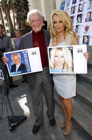 PETA Goes Postal: Pamela Anderson and Bob Barker Unveil Vegetarian Icons Postage Sheet held at the Hollywood Post Office in Hollywood, USA on November 29, 2011.
