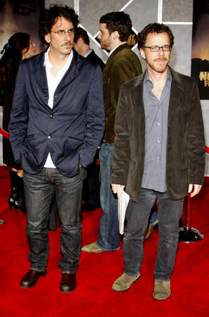 Ethan and Joel Coen at the Los Angeles Premiere of No Country For Old Men held at the El Capitan Theater in Westwood, USA on November 4, 2007. Editorial