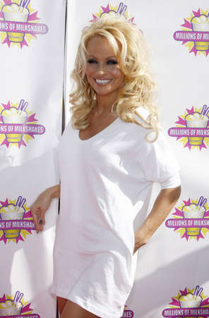 west hollywood: Pamela Anderson and PETA create the First ALL-VEGAN Shake held at the Millions of Milkshakes in West Hollywood, USA on April 9, 2010.