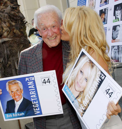 unveil: PETA Goes Postal: Pamela Anderson and Bob Barker Unveil Vegetarian Icons Postage Sheet held at the Hollywood Post Office in Hollywood, USA on November 29, 2011.