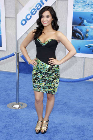 Demi Lovato at the Los Angeles premiere of 'Oceans' held at the El Capitan Theater in Hollywood, USA on April 17, 2010.