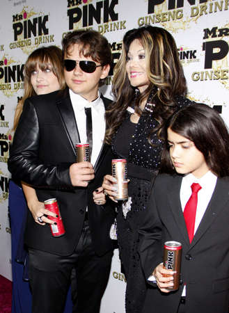 Prince Jackson, Paris Jackson, La Toya Jackson and Blanket Jackson at the Mr. Pink Ginseng Drink Launch Party held at the Regent Beverly Wilshire Hotel in Beverly Hills, USA on October 11, 2012.
