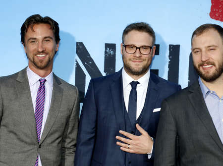 sorority: James Weaver, Seth Rogen and Evan Goldberg at the Los Angeles premiere of 'Neighbors 2: Sorority Rising' held at the Regency Village Theatre in Westwood, USA on May 16, 2016.