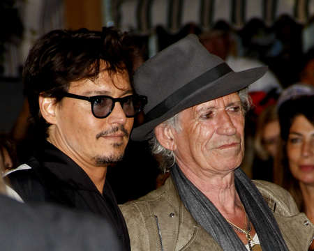 keith: Johnny Depp and Keith Richards at the Los Angeles premiere of Pirates Of The Caribbean: On Stranger Tides held at the Disneyland in Anaheim on May 7, 2011.