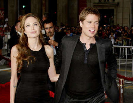 Angelina Jolie and Brad Pitt at the Los Angeles Premiere of Oceans Thirteen held at the Graumans Chinese Theatre in Hollywood, USA, on June 5, 2006. Editorial