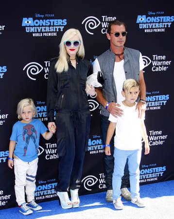 """zuma: Gwen Stefani, Gavin Rossdale and sons Zuma and Kingston Rossdale at the Los Angeles Premiere of """"Monsters University"""" held at the El Capitan Theatre in Hollywood on June 17, 2013. Editorial"""