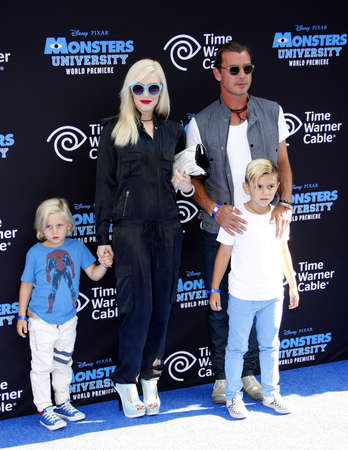 zuma: Gwen Stefani, Gavin Rossdale and sons Zuma and Kingston Rossdale at the Los Angeles Premiere of Monsters University held at the El Capitan Theatre in Hollywood on June 17, 2013.
