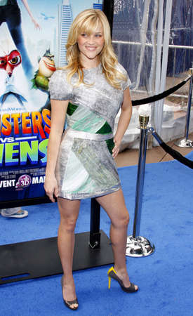 reese: Reese Witherspoon at the Los Angeles premiere of Monsters vs. Aliens held at the Gibson Amphitheatre in Universal City on March 22, 2009.