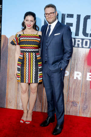 sorority: Seth Rogen and Lauren Miller at the Los Angeles premiere of 'Neighbors 2: Sorority Rising' held at the Regency Village Theatre in Westwood, USA on May 16, 2016. Editorial