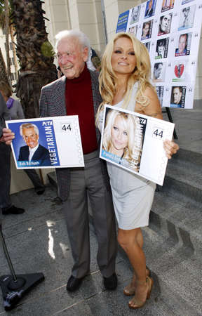 barker: PETA Goes Postal: Pamela Anderson and Bob Barker Unveil Vegetarian Icons Postage Sheet held at the Hollywood Post Office in Hollywood, USA on November 29, 2011.