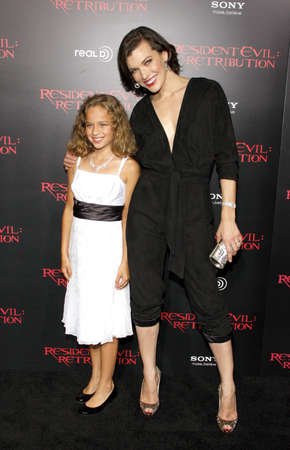 Milla Jovovich and Aryana Engineer at the Los Angeles premiere of Resident Evil: Retribution held at the Regal Cinemas L.A. Live in Los Angeles, USA on September 12, 2012.