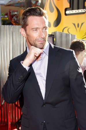 hugh: Hugh Jackman at the Los Angeles premiere of Real Steel held at the Gibson Amphitheatre in Universal City, USA on October 2, 2011. Editorial