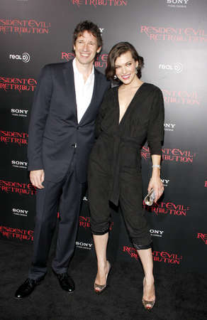 retribution: LOS ANGELES, CA - SEPTEMBER 12, 2012: Milla Jovovich and Paul W.S. Anderson at the Los Angeles premiere of Resident Evil: Retribution held at the Regal Cinemas L.A. Live in Los Angeles, USA on September 12, 2012.