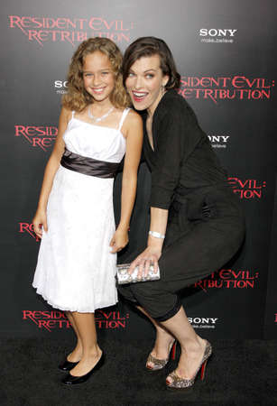 retribution: LOS ANGELES, CA - SEPTEMBER 12, 2012: Milla Jovovich and Aryana Engineer at the Los Angeles premiere of Resident Evil: Retribution held at the Regal Cinemas L.A. Live in Los Angeles, USA on September 12, 2012. Editorial