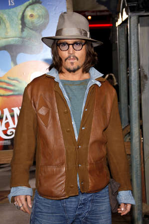 Johnny Depp at the Los Angeles premiere of Rango held at the Regency Village Theater in Westwood on February 14, 2011.