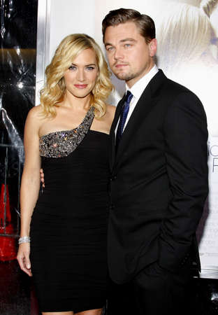 Kate Winslet and Leonardo DiCaprio at the Los Angeles premiere of 'Revolutionary Road' held at the Mann Village Theater in Westwood on December 15, 2008. Stock Photo - 56847370