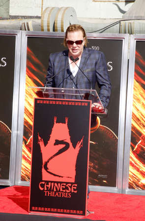 october 31: HOLLYWOOD, CA - OCTOBER 31, 2011: Mickey Rourke Hand And Footprint Ceremony held at Grauman's Chinese Theater in Hollywood, USA on October 31, 2011.