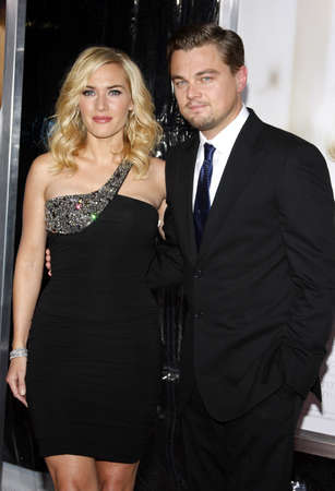 Kate Winslet and Leonardo DiCaprio at the Los Angeles premiere of Revolutionary Road held at the Mann Village Theater in Westwood on December 15, 2008.