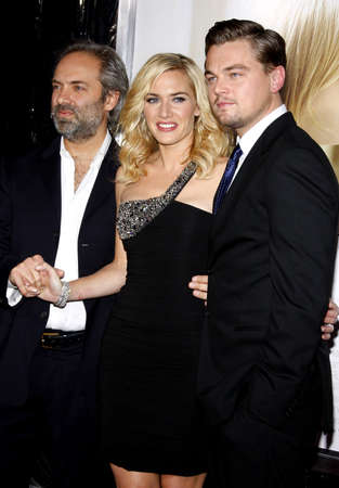 Sam Mendes, Kate Winslet and Leonardo DiCaprio at the Los Angeles premiere of Revolutionary Road held at the Mann Village Theater in Westwood on December 15, 2008. Editorial