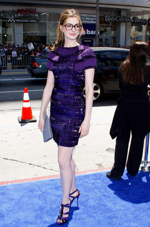 hathaway: HOLLYWOOD, CA - APRIL 10, 2011: Anne Hathaway at the Los Angeles premiere of Rio held at the Graumans Chinese Theater in Hollywood, USA on April 10, 2011.