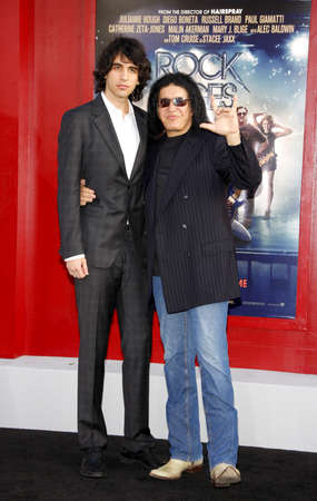 HOLLYWOOD, CA - JUNE 08, 2012: Gene Simmons and Nick Simmons at the Los Angeles premiere of 'Rock of Ages' held at the Grauman's Chinese Theatre in Hollywood, USA on June 8, 2012. 報道画像