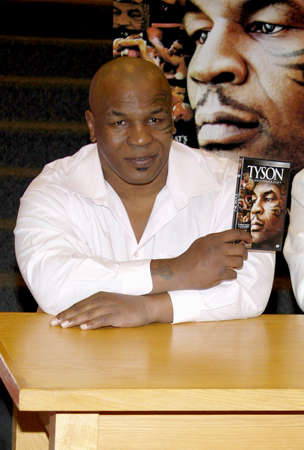 promotes: Mike Tyson promotes the Blu-ray and DVD Tyson held at the Borders in Hollywood, USA on August 18, 2009. Editorial