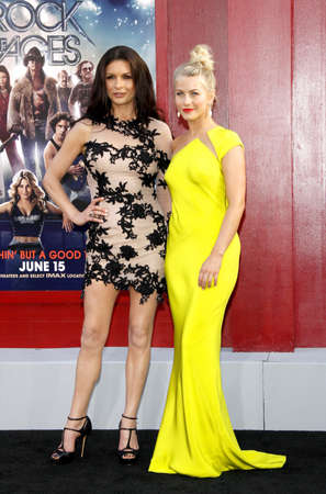 HOLLYWOOD, CA - JUNE 08, 2012: Catherine Zeta-Jones and Julianne Hough at the Los Angeles premiere of 'Rock of Ages' held at the Grauman's Chinese Theatre in Hollywood, USA on June 8, 2012.