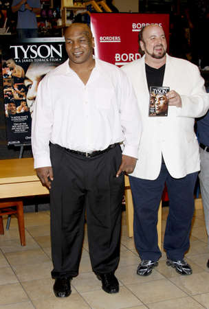 bluray: James Toback and Mike Tyson promotes the Blu-ray and DVD Tyson held at the Borders in Hollywood, USA on August 18, 2009.