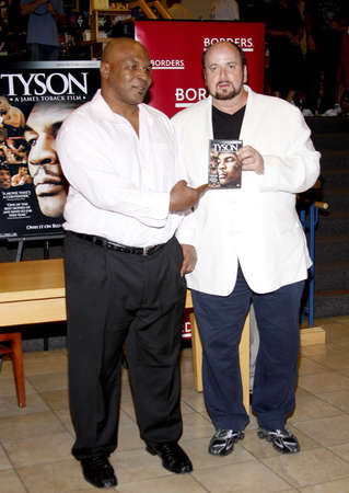 promotes: James Toback and Mike Tyson promotes the Blu-ray and DVD Tyson held at the Borders in Hollywood, USA on August 18, 2009.