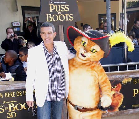 puss: Antonio Banderas at the Los Angeles premiere of Puss In Boots held at the Regency Village Theater in Westwood, USA on October 23, 2011. Editorial