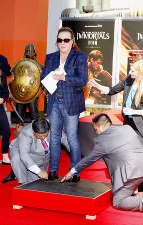 Mickey Rourke Hand And Footprint Ceremony held at Grauman's Chinese Theater in Hollywood, USA on October 31, 2011. 報道画像
